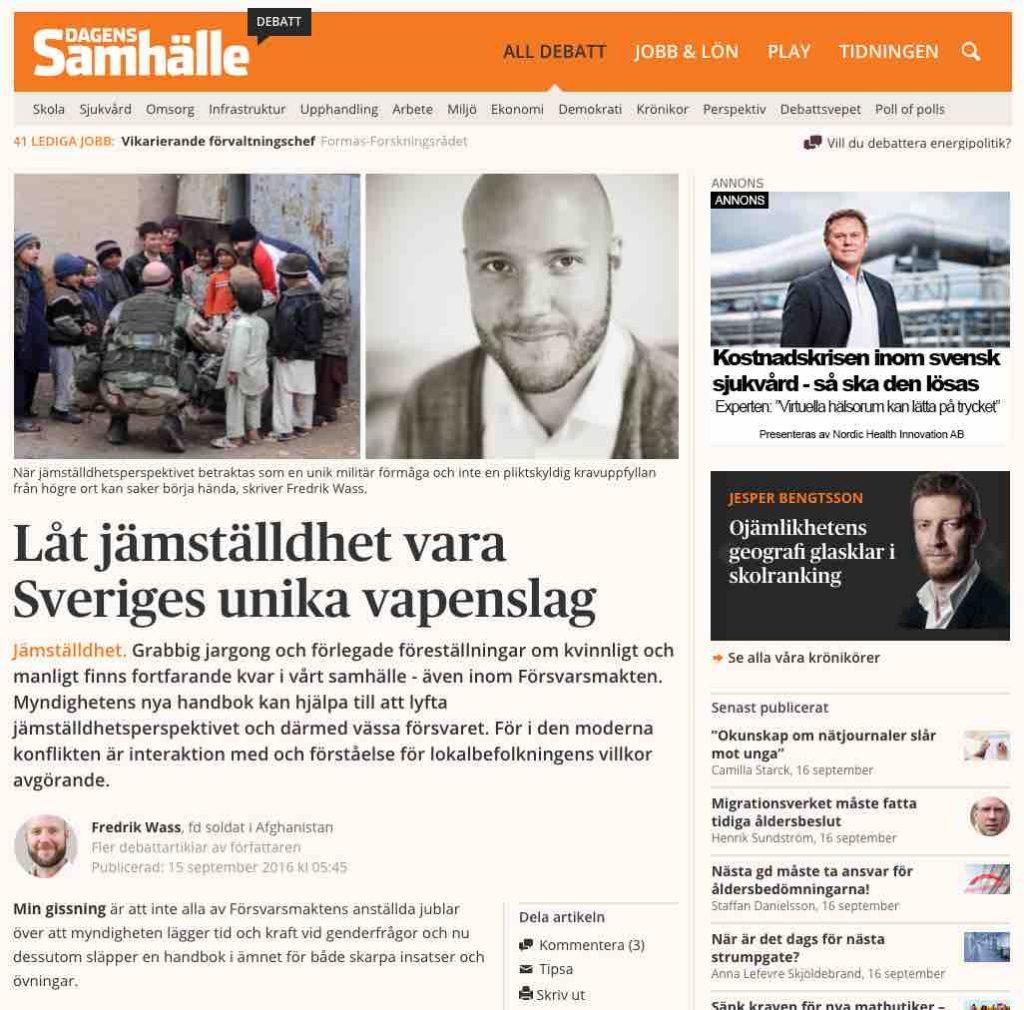 Dagens Samhälle debattartikel Fredrik Wass