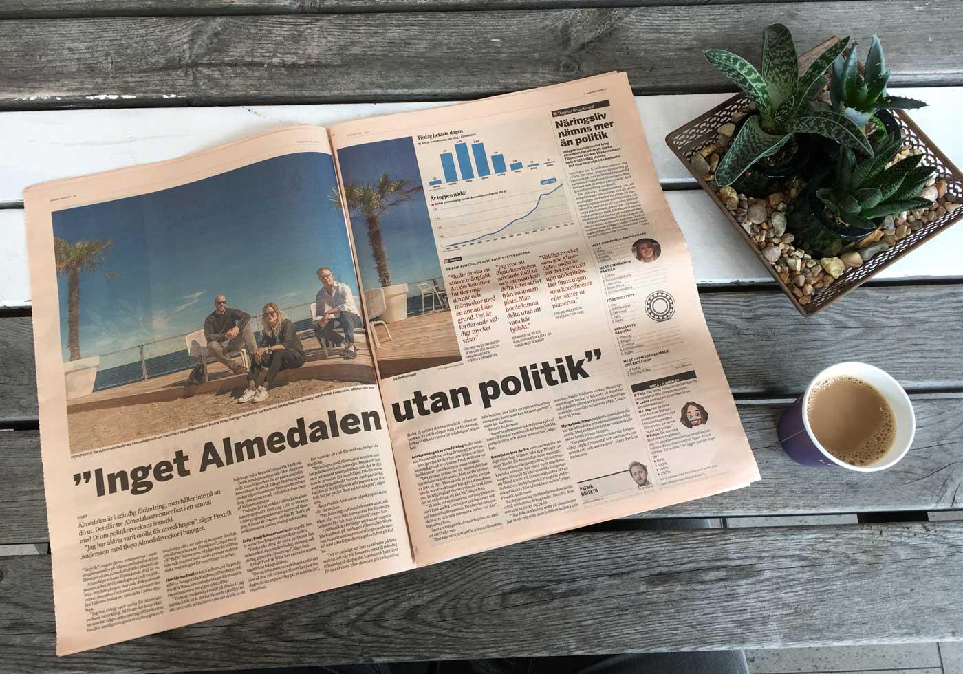 Fredrik Wass, Ida Karlbom och Fredrik Andersson i Dagens Industri 6 juli 2017