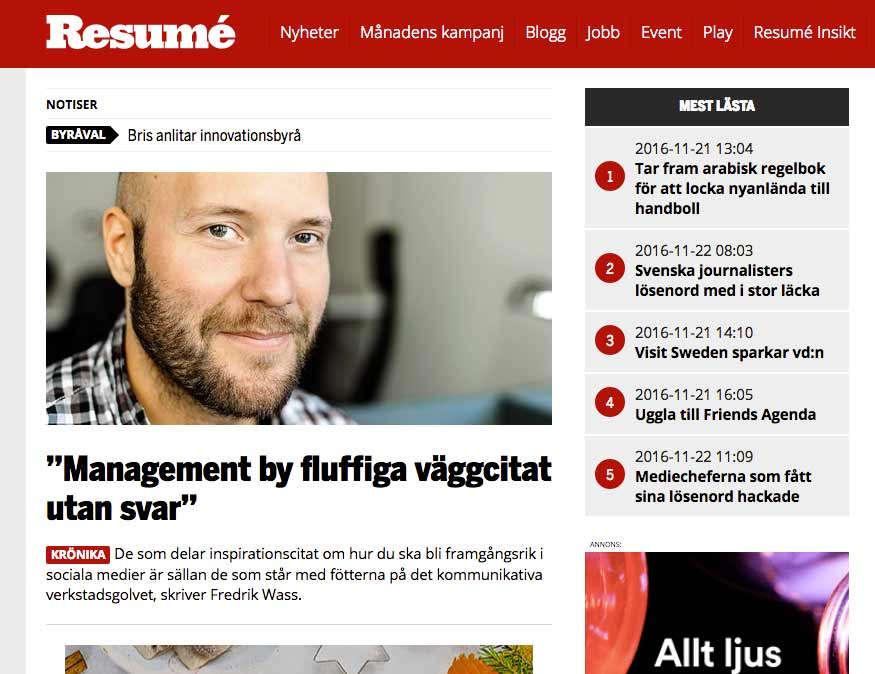 Fredrik Wass krönika i Resumé