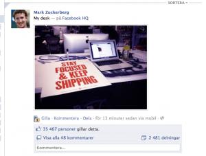 Facebook-grundaren Mark Zuckerbergs uppdatering efter IPO-beskedet.