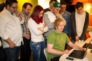 Några av deltagarna på Stendahls Mobile Hackathon i Göteborg.
