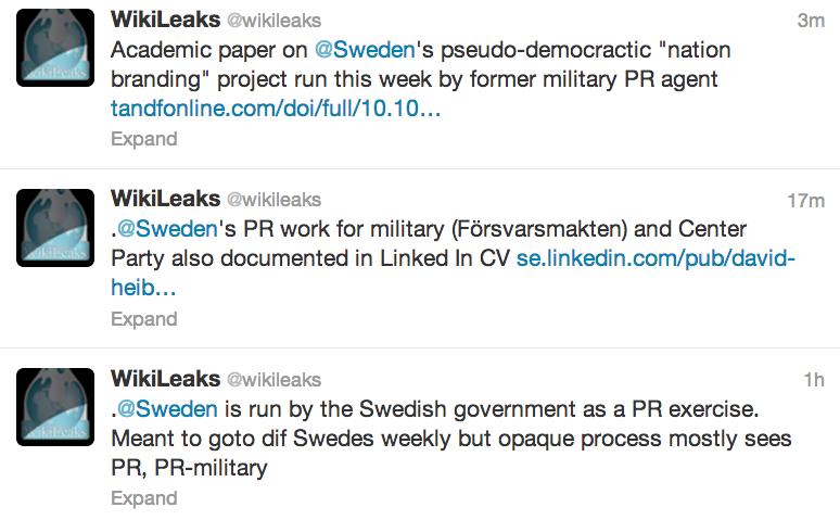 Wikileaks refererar till offentliga uppgifter om David Heibrandt från LinkedIn.