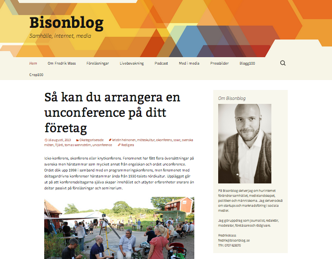 """Den nya """"standard-designen"""" på Bisonblog.se"""