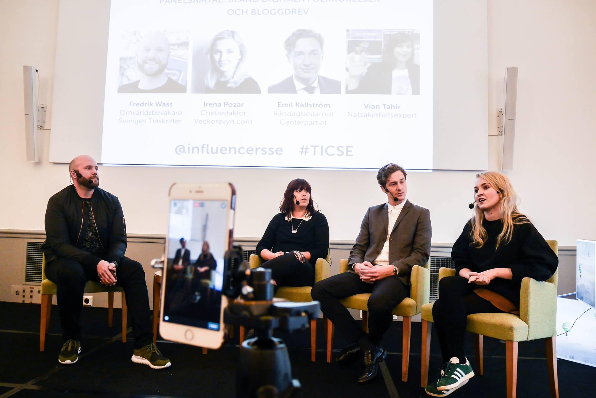Fredrik Wass, Vian Tahir, Emil Källström och Irena Pozar. Foto: Linda Hörnfeldt