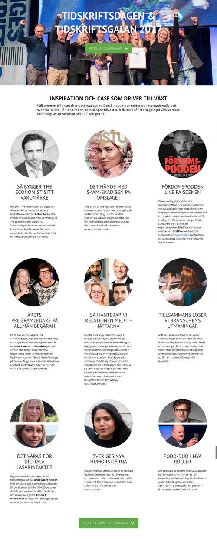 Tidskriftsdagen 2017 - skärmbild från eventsidan