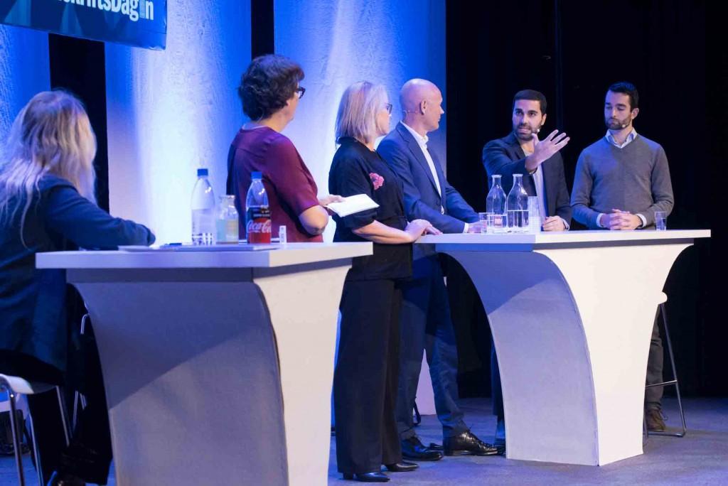 Representanter från Aller media, Bonnier Magazine & Brands, Google och Facebook på samma scen. Stina Abelius, Lars Dahmén, Farshad Shadloo och John Severinson. Foto: Anette Persson.